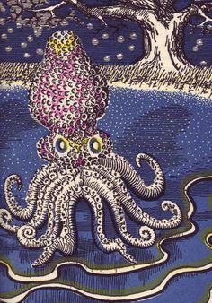 "Ooh...octopus! Illustration for ""Russian Fairy Tales"" (1945) by Russian artist & filmmaker Alexander Alexieff (1901-1982). via 50 watts"