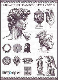 греческий алфавит, бюст, юноша, войн, легионер, чаша, сосуд, амфора, шлем, боги…