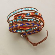 """KALEIDOSCOPE 5 WRAP MULTI BRACELET--Japanese cylinder beads assume a kaleidoscope-like quality, artistically arranged between leather borders. Differing segments per bracelet stack when wrapped at the wrist. Chan Luu originals with sterling silver button clasps. 32"""" to 34""""L."""