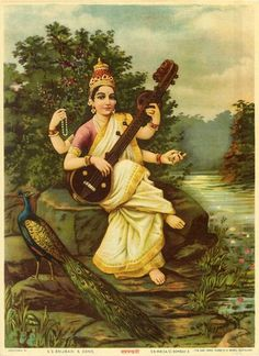 depiction of Saraswati Devi by Raja Ravi Varma