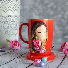 A spring girl Ceramic mug with handmade polymer clay decor. 10 oz handmade decor is made from oven baked polymer clay brand Premo Decor from polymer clay glued to the cup, so a cup can be used as usual. . Wash with warm water by hand, do not put in the microwave and dishwasher.