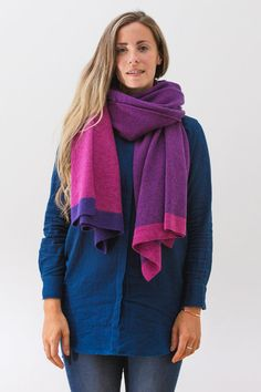 A soft lambswool scarf designed and made in Scotland. Luxury Contemporary Knitwear by Collingwood-Norris Purple Scarves, Oversized Scarf, Designer Scarves, Scarf Design, Blanket Scarf, Womens Scarves, Color Blocking, Shawl, Knitwear