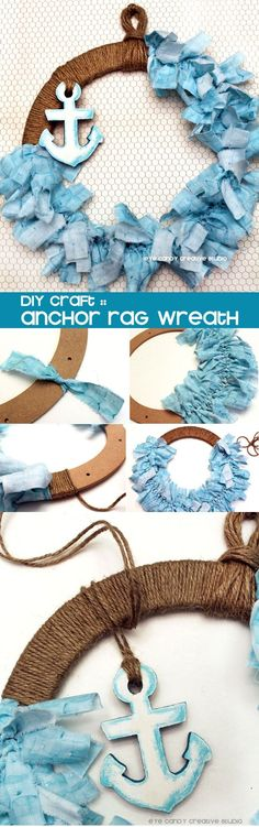 DIY Anchor Rag Wreath! Easy and simple craft for summer