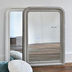 Beaded Wall Mirror - Grey & White