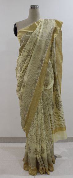 Cream and Gold Hand Block Printed Chanderi Saree..To buy this gorgeous saree drop a message...