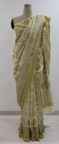 Cream and Gold Hand Block Printed Chanderi Saree