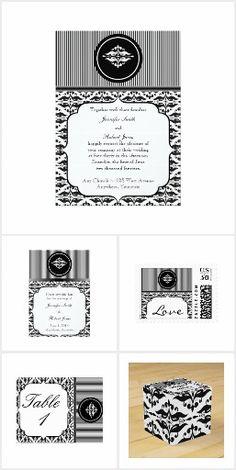 Old Hollywood Damask Wedding Damask Wedding, Elegant Wedding, Invitation Set, Old Hollywood, Reception, Black And White, Pattern, Beautiful, Design