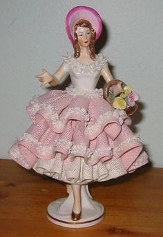 dresden figurines | Dresden Lace Figurine - Lady with Basket