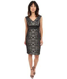 Sangria V-Neck Lace Sheath Dress w/ Inset Waist