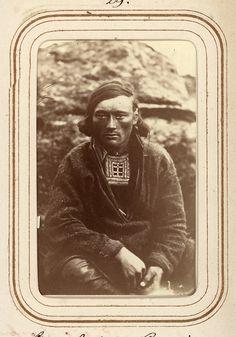 Portrait of Sami man Lars Anders Baggi, aged 25, from Jokkmokk, Sweden. By Letten von Düben, 1868.