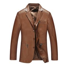 Cheap brown leather jacket men, Buy Quality fashion leather jackets men directly from China leather jacket men Suppliers: 2016 Spring New Fashion Long Chaqueta De Cuero De Los Hombres High Quality Business Style Brown Leather Jacket Men Brown Leather Jacket Men, Leather Blazer, Leather Men, Leather Jackets, Leather Coats, Soft Leather, Denim Blazer, Real Leather, Fall Blazer