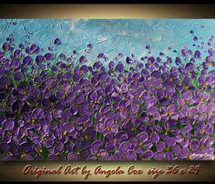 SALE..Original  Floral  Acrylic Impasto Palette by angelacoxart