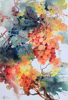 Lian Quan Zhen 'Orange Grapes', watercolour