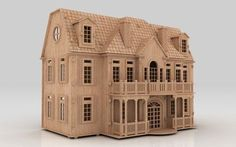 3d Puzzle English Manor Dollhouse Cnc Router Pattern Laser Plan Dxf Mh