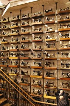 #collecting #collection #vintage @artisanslist ❤️ ❤️ ❤️ All Saints Seattle store display of over 600 vintage sewing machines (all along the boarder of the store, windows, too) MUST SEE... by Pacific Place, Westlake Mall, Monorail, Trolley, and Pike's Place (summer 2013)