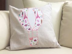 Hot air balloon pillow cover in pink apllique on by chubbyABC