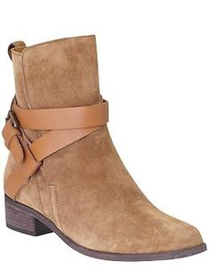 See Tan Suede Low Booties by Chloe Janis | Piperlime