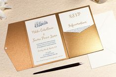Calligraphy Wedding Invitation in Antique Gold Pocketfold Wallet Beach Theme Wedding Invitations, Handmade Wedding Invitations, Unique Invitations, Beautiful Wedding Invitations, Wedding Invitation Design, Invites, Make Your Own Invitations, Easy Canvas Painting, Gond Painting