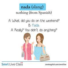 Slang: nada English Language Learning, Spanish Language, Learning Spanish, English Prepositions, English Vocabulary Words, Slang English, English Grammar, English Study, Learn English