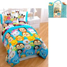 Disney Tsum Tsum Bed in a Bag 5 Piece Twin Bedding Set with Bonus Tote, Multicolor Toddler Girl Bedding Sets, Girls Bedding Sets, Teen Bedding, Luxury Bedding Sets, Girls Bedroom, Bedroom Ideas, Girl Rooms, Grey Bedroom Furniture Sets, Disney Bedding