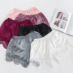 d80d47c0ac6 Lace Underpants Silk Pajamas Casual Underwear Soft Shorts Solid Color  Sleepwear  fashion  clothing