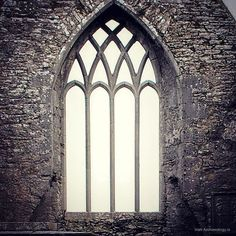 Ornate medieval window, Ross Erilly Friary, Co. Galway | Instagram photo by @irish_archaeology
