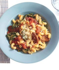 Pasta with sausage and tomatoes: Real Simple. The second time I made this I subbed sweet Italian sausage, poured 1/3 c red wine over tomatoes before roasting them at 400 degrees, decased sausage and cooked on stovetop, then mixed sausage with tomatoes and left on warm in crockpot for 5 hrs. Amazing dish.