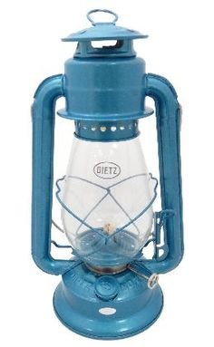 Dietz 20 Junior Oil Burning Lantern Blue *** See this great product. (This is an affiliate link) Led Camping Lantern, Camping Lights, Candle Power, Blue Lantern, Industrial Style Lighting, Oil Candles, Antique Lamps, Antiques, Glass