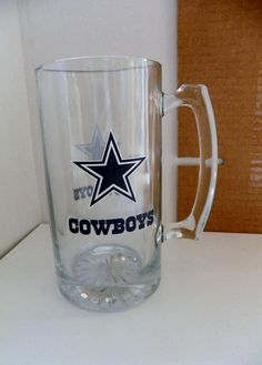 NFL Tankard Glass Mug 25-ounce Dallas Cowboys NEW in Box   /M10 #Avon #DallasCowboys