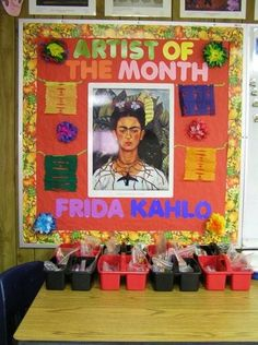 Instead of Artist of the month for I'd make it for History or English, but like this because it wouldn't be a board that you have to change all the time.