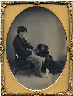 ca. 1860-70's, [ambrotype portrait of a gentleman with his dog]