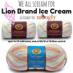 Win 3 balls of Lion Brand Ice Cream on Moogly! Open to US addresses, ends 6/20/16 at 12:15am central