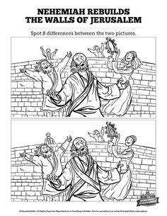 Book of Nehemiah Kids Spot The Difference: Can you spot the difference between these two book of Nehemiah kids Bible illustrations? Fun, challenging and bursting with color this printable Sunday School activity page makes a great compliment to your upcoming book of Nehemiah children's Bible study.