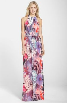 Free shipping and returns on Eliza J Print Chiffon Maxi Dress (Regular & Petite) at Nordstrom.com. This statuesque fit-and-flare dress cut from airy, softly gathered chiffon gains some optic pop from its multimedia floral print.// NORDY'S END OF SUMMER SALE <3