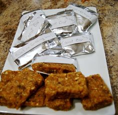 Carrot Cake Nutrition Bars recipe; so easy, NO BAKING! Best protein bar ever says James. Great for RVing, hiking...just stick in your pocket and go!