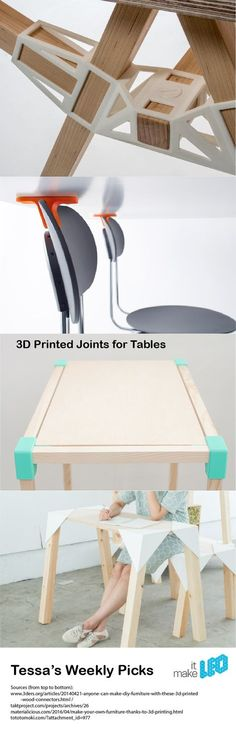 4 variations of 3D printed joints to assemble a table