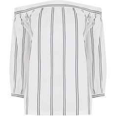 Warehouse Stripe Off Shoulder Top, Multi (€38) ❤ liked on Polyvore featuring tops, shirts, striped off-the-shoulder tops, striped shirt, striped long sleeve shirt, long sleeve shirts and long sleeve cotton shirts