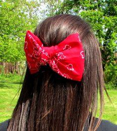 Bandana hair bow large hair bow hair bow by Southernbornnblessed, $7.50