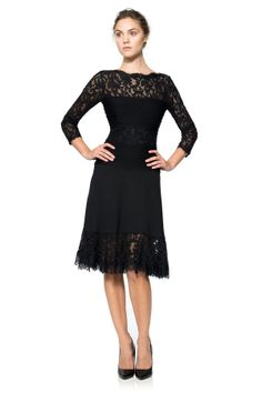 Pintuck Jersey and Lace Long Sleeve Dress with Sheer Lace Detail | Tadashi Shoji