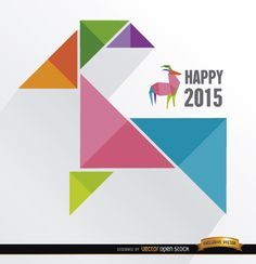 """2015 is almost here: the year of the goat in Chinese zodiac. This is a cool background made of colored triangles and a polygon goat with """"Happy 2015"""" written beside it. Send your best wishes for New Year with this cool image. High quality JPG included. Under Commons 4.0. Attribution License."""