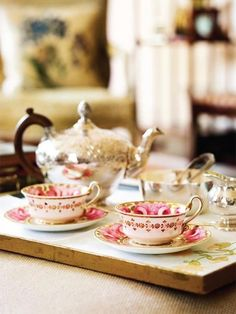 Normally I'm all about white dishes, but these cups would make tea taste loverly.