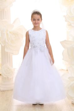 White Flower Patterend Embroidery Bodice and Organza Skirt Communion Dress