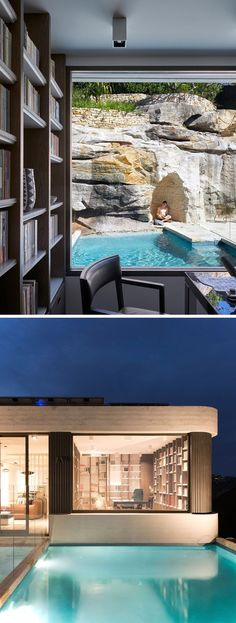 This study has a view of theancient rock shelves and ledges that emerged in this steep escarpment, as well as the pool. At night, there's a clear view of the study from the outdoor areas. #Study #SwimingPool