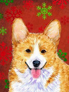Corgi Red and Green Snowflakes Holiday Christmas 2-Sided Garden Flag