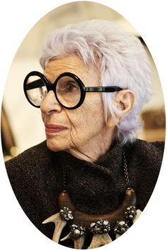 In love with Iris Apfel's glasses and antler necklace.