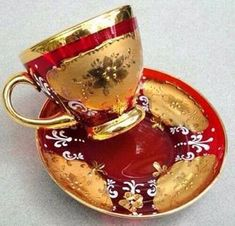 Details about Moser Tea Cup & Saucer Bohemian Czech Ruby Red Glass Gold Enamel Gilt Decor Vtg - Tea Set - Ideas of Tea Set - Moser Tea Cup & Saucer Bohemian Czech Ruby Red Glass Gold Enamel Gilt Decor Tea Cup Set, My Cup Of Tea, Tea Cup Saucer, Tea Sets, Teapots And Cups, China Tea Cups, Chocolate Pots, Red Glass, High Tea