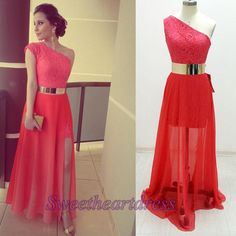 One-shoulder prom dress with slit, red maxi dress , mother of the bride dress with belt sweetheartdress.s... #promdress #coniefox #2016prom