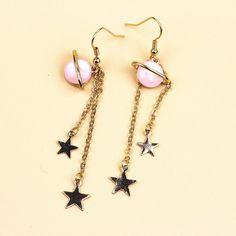 8e30935d9 Planet & Star Drop Earrings - Shop Minu (earrings) Korean Aesthetic ...