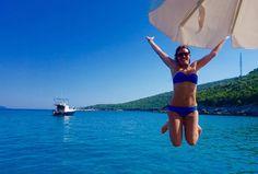 Summer happiness! Samantha Claire in her #HeidiKlein Long Island Scallop Bandeau Bikini