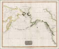 Scarce map of the NW Passage, the NW Coast of America and NE Coast of Asia.  The map extensively tracks the voyages of Captain JamesCook' beyond the Bering Straits on a nearly daily basis in 1778 and 1779. In the Arctic Sea, a note regarding McKenzie's having cited the Sea on July 10, 1789 is present, along with a note concerning the establishment of a post at Whale Island.  The watercourse from Slave Lake to the Arctic Sea is shown, along with annecdotal Indian Notes. The detail of the…